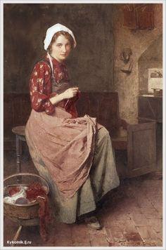 Carlton Alfred Smith (British, 1853-1946) «A young girl knitting»