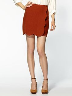 rusty red scalloped skirt. perfect for fall.