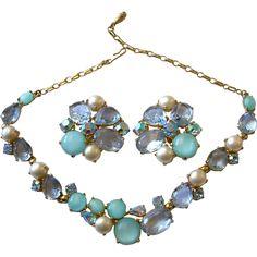 Schiaparelli Aqua Moonstones, Blue Crystals, AB & Faux Pearls Demi