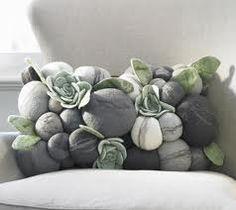 Felt stones and succulents pillow