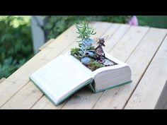 DIY Vintage Book into Fairy Garden - YouTube tutorial Fairy garden ideas Enchanted garden ideas; #fairygardenminiatures #fairygarden