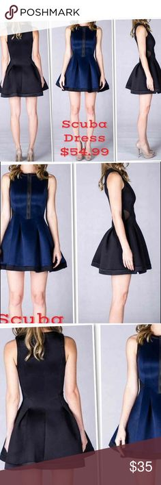 """Susie Scuba Dress Pleated, flared dress with front bodice zipper. Dress runs small. Bodice very fitted. SIZE LARGE: waist 25"""", length 32"""", bust 29"""" ASKING PRICE OR BEST OFFER! Regular Poshmark Price is $50 Dresses Mini"""