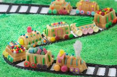 From the locomotive to the caboose, the Nordic Ware Train Cake Pan makes nine train car-shaped mini cakes. Perfect for train lovers of any age. Holiday Train, Christmas Train, Christmas Candy, Christmas Tables, Christmas Baking, Mini Cake Pans, Mini Cakes, Baby Showers, Choo Choo Train