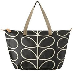Giant Stem Zip Shopper - Black and Cream- Perfect everyday bag. Holds your essentials and more. Laminated cotton canvas with zip top closure.