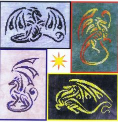 Four striking design of a dragons worked light on dark and dark on light.