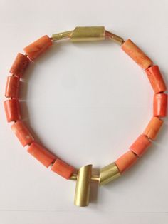 Coral necklace by Jowita Allen ~Brass, natural coral 2014