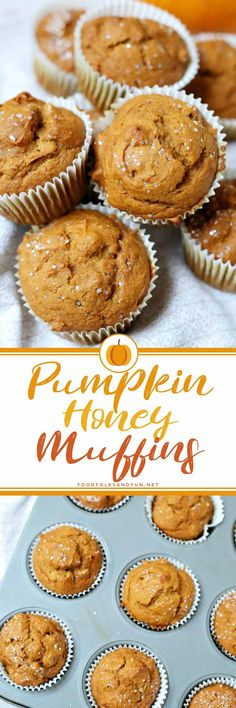 The Best ever Pumpkin Muffins made with honey and not sugar.