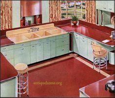 1945 Standard Plumbing Kitchen in Red Vintage Kitchen Appliances, 1960s Kitchen, Kitchen Cabinets, Mid Century Decor, Mid Century House, Kitchen Interior, Kitchen Design, Kitchen Ideas, Kitchen Decor