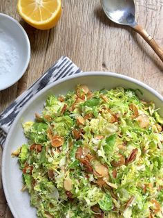 Shaved Brussels Sprouts Salad with Lemon, Pecorino, and Toasted Almonds - Mom's Kitchen Handbook