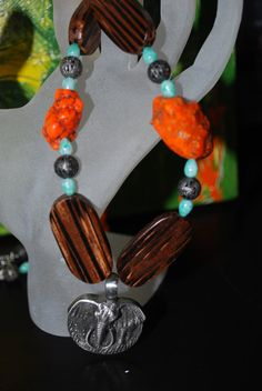 ELEPHANT Silver Pendant Earth Tone Chunky Beads by SoraCreations, $28.50