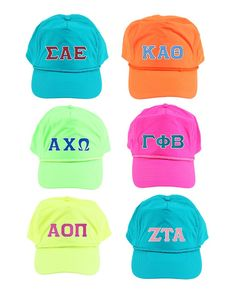 Greek Twill Letter NEON Hats