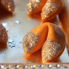 Fabulous Fortune Cookies: Edible glitter -- or other shapes, like these stars -- are a perfect decoration for treats on New Year's Eve (or the Chinese New Year)! Available at craft stores or online, just moisten your treats (slightly) and sprinkle the glitter on. Instant glamour!