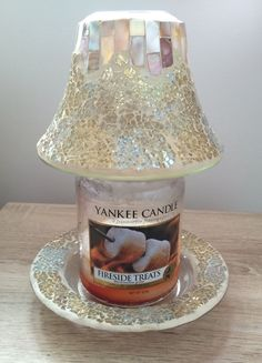 Shimmer shine yankee candle jar candle shade make the holidays new gold and pearl mosaic yankee candle shade and tray mozeypictures Gallery