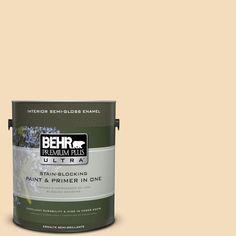 BEHR Premium Plus Ultra 1-gal. #YL-W1 Spinning Silk Semi-Gloss Enamel Interior Paint