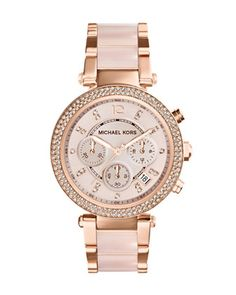 PERFECT. Michael Kors Mid-Size Rose Golden Stainless Steel Parker Chronograph Glitz Watch.