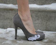 Grey Heel With Lace Applique