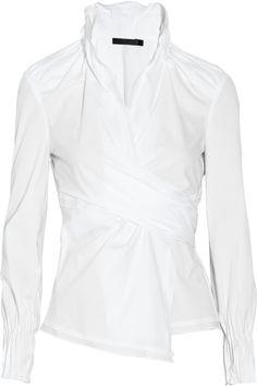 Donna Karan  Stretch cotton-blend wrap shirt