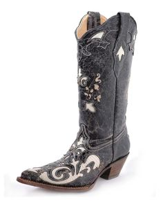 #Corral Women's Bone Vintage Lizard Overlay Boot - C2116