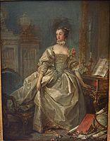 François Boucher - La Marquise de Pompadour, 1750. Oil on paper mounted on canvas, Musée du Louvre