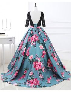 Floral Prom Dress Lace Backless Printed Pageant Illusion Sleeve Pleated A Line Party Dress With Chapel Train & Wedding > Occasion Dresses > Prom Dresses Floral Prom Dresses, Homecoming Dresses Long, Unique Prom Dresses, Ball Gowns Prom, Ball Dresses, Evening Dresses, Wedding Dresses, Half Sleeve Dresses, Gowns With Sleeves