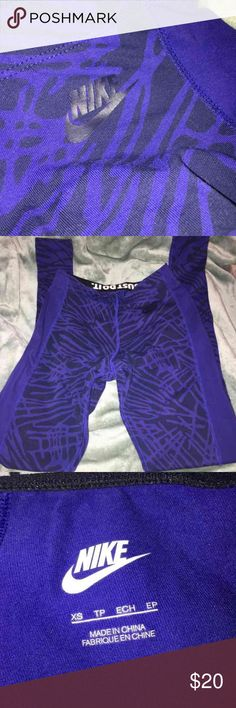 Women's Nike Just Do It tight. Women's Nike tight in blue print. Super comfortable for lounging around or working out! Only worn once. Cotton/Spandex/Polyester material. Nike Pants Leggings