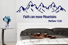 Mountain Wall Decal Bible Quote Decor Matthew 17:20 Faith | Etsy #mountain #walldecor #walldecals #bible #inspirational #kidsdecor #nurserydecor #decals #stickers #babydecor