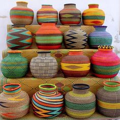 Colorful hand woven baskets from @babatreebaskets