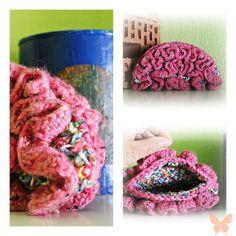 romantic crochet clutch pink clutch unique by Taschenatelier