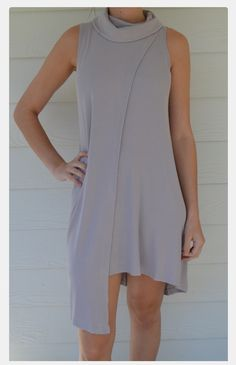 Tank Dress - asymmetrical tank dress in tan, zipper in back