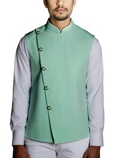 Shop Light Pistachio Green Waistcoat from RJ Fusion & Threads | Poly Viscose . RJ Fusion & Threads is a passion project to bring clothing that is not