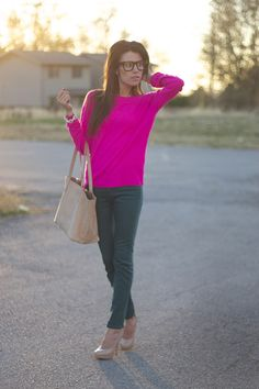 pink sweater teal pencil skirt nude pumps