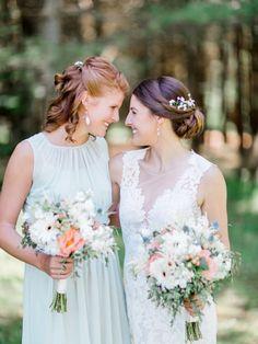 Sage green bridesmaids gowns: http://www.stylemepretty.com/wisconsin-weddings/2016/08/24/rustic-northwoods-wedding/ Photography: Natashia Nicole - http://natashianicolephotography.com/