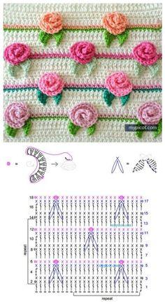 Top Crochet Ideas With Free Patterns - Diy & Crafts Picot Crochet, Crochet Borders, Crochet Flower Patterns, Crochet Diagram, Crochet Stitches Patterns, Crochet Motif, Diy Crochet, Crochet Designs, Crochet Crafts