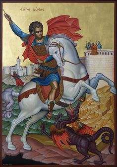 Sexy Beauty and the Beast Art Beauty And The Beast Art, Saint George And The Dragon, Byzantine Art, Knights Templar, Orthodox Icons, Monster, Religious Art, Folk Art, Saints