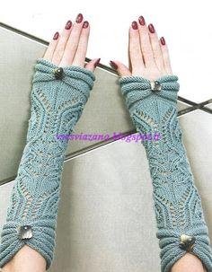 Elegant mitts for a short-sleeved sweater - DIY, ideas for creativity - DIY Ideas Fingerless Gloves Crochet Pattern, Gilet Crochet, Fingerless Gloves Knitted, Knit Mittens, Knit Crochet, Love Knitting, Hand Knitting, Knitting Patterns, Crochet Patterns