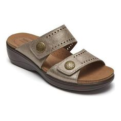 548b23abf2cc Rockport Women s Cobb Hill Maisy 2 Band Slide Dove Metallic Leather