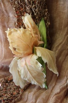 """""""КАРАМЕЛЬ"""".Брошь из шелка. - бежевый,ирис,цветы,цветы из шелка,шелковые цветы"""