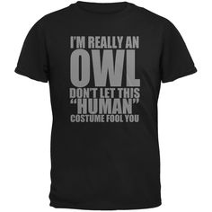 Halloween Human Owl Costume Black Adult T-Shirt | AnimalWorld.com