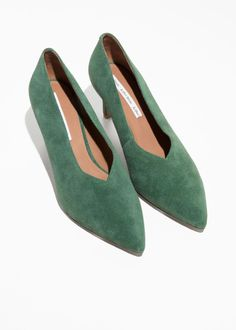 Back image of Stories suede pumps in green