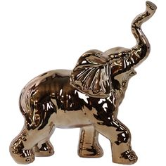Urban Trends Porcelain Polished Chrome Gold Walking Trumpeting... (4770 RSD) ❤ liked on Polyvore featuring home, home decor, gold, porcelain figurine, gold home decor, urban home decor, animal figure and porcelain animal figurines