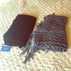 NWT infinity scarves Black Vera Wang and gray Staring at Stars (from Urban Outfitters). Not sure about the price of the black one (it was a gift I've never used), but the gray one says $29 on the tag. No trades, but make me an offer! Staring at Stars Accessories Scarves & Wraps