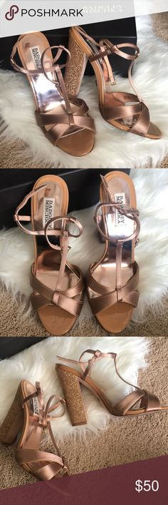 Badgley Mischka Jenie Satin Heels ▪️Badgley Mischka satin strappy heel sandals ▪️Size: 8.5 (fits a little smaller) ▪️Color: Brown sugar ▪️Gorgeous statement glitter heel-gold/rose gold in color ▫️Wear only on the bottom as shown in the fourth image, worn once for my wedding rehearsal Badgley Mischka Shoes Heels