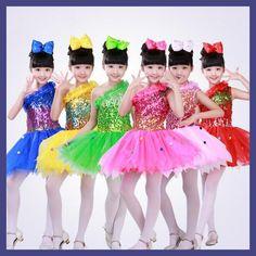 Kids Ballet dancing dress tutu dress Girls Sequined Ballroom Party Jazz Stage dance wear costumes dress Outfits dress
