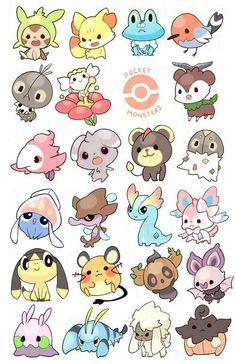 Pocket Monsters: GEN VI by aya-mei on DeviantArt - Pokémon - some of my fav ghost, fairy and psychic pokemon! (that i churned out in like record time woot) will - Kalos Pokemon, O Pokemon, Pokemon Fairy, Pokémon Kawaii, Kawaii Anime, Cute Pokemon Wallpaper, Cute Cartoon Wallpapers, Cute Animal Drawings Kawaii, Cute Drawings