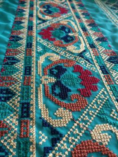 This Pin was discovered by Ran Cross Stitch Borders, Cross Stitch Charts, Cross Stitching, Cross Stitch Patterns, Wool Embroidery, Cross Stitch Embroidery, Embroidery Patterns, Broderie Bargello, Palestinian Embroidery