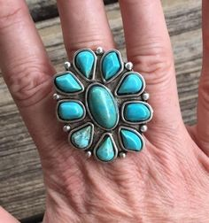 Gorgeous Statement Ring ~ faux Turquoise & Silver ~ Adjustable