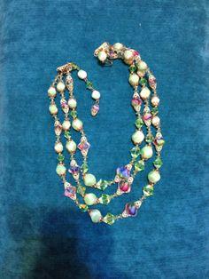 Vintage Vendome Necklace ThreeStrand Greens by GracesVintageGarden, $85.00