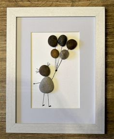 """Excited to share the latest addition to my #etsy shop: Girl with Balloons - pebble picture (8"""" x 6"""" frame size)"""