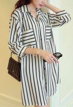 Zanzea Fashion Spring Autumn Shirts Dress 2016 Women Blouses Lapel Sleeve Striped Casual Loose Long Tops Blusas Plus Size Fall Shirts, Loose Tops, Only Fashion, Long Blouse, Blouse Styles, Blouses For Women, Korean Fashion, Vogue, Plus Size