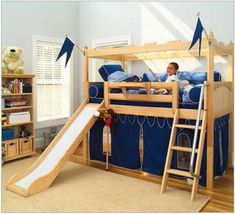 Shop Wayfair for your Twin Castle Bed with Slide. Give your little knight the fortress of his dreams with the Twin Castle Bed with Slide, and watch his imagination run wild. Bunk Beds Boys, Low Loft Beds, Kid Beds, Cama Ikea Kura, Bunk Bed With Slide, Bunk Beds With Stairs, Bed Slide, Bunk Bed Designs, Kids Bedroom Furniture